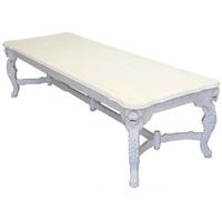 Table repas baroque en acajou blanc 300x110 cm Bolton