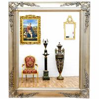 Miroir baroque cadre en bois argenté 62x52 cm