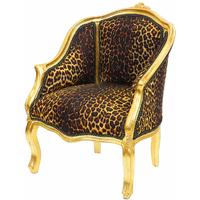 Bergère style Louis XV en bois doré et tissu léopard Boussac