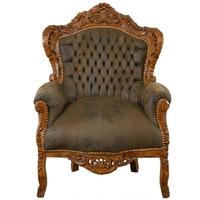 Fauteuil baroque rococo en hêtre et simili-cuir marron Stockholm