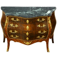 Commode baroque style Louis XV en marqueterie noyer Dortan