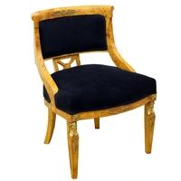 Chaise style Empire retour d'Egypte en loupe d'orme Iéna