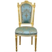 Chaise Marie-Antoinette en hêtre doré et tissu bleu Talcy
