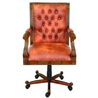 Fauteuil de bureau pivotant style victorien chesterfield orange Bristol