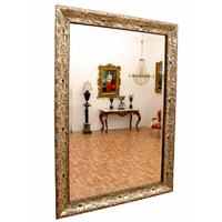 Miroir baroque cadre en bois argenté 88x62 cm