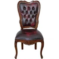 Chaise de bureau style anglais victorien en acajou bordeaux London