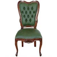 Chaise style anglais victorien en acajou massif chesterfield vert London