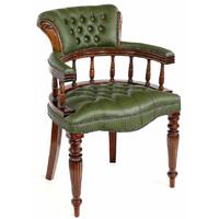 Fauteuil style anglais victorien en acajou capitonné vert Mitford