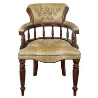 Fauteuil style victorien en acajou capitonné beige Mitford