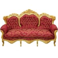Canapé rococo en bois doré et tissu rouge Copenhague