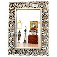 Miroir baroque cadre en bois argenté 128x92 cm Blossac