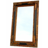 Miroir baroque cadre en bois noir et doré 152x92 cm