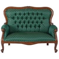 Canapé style anglais Chippendale en acajou et tissu vert Preston