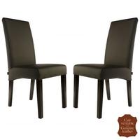 2 chaises en cuir de vachette brun Florence