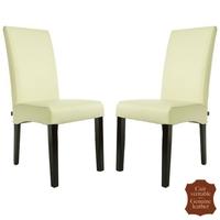 2 chaises en cuir de vachette blanc Florence