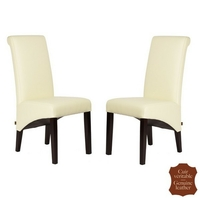 2 chaises en cuir véritable blanc cassé Milan