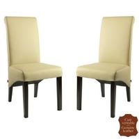 2 chaises en cuir de vachette beige mocca Milan