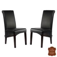 2 chaises en cuir pleine fleur noir Milan