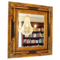 Miroir baroque cadre en bois doré et noir 96x86 cm