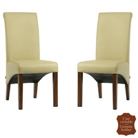 2 chaises en cuir véritable beige moka Milan