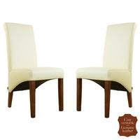 2 chaises colonial en cuir de vachette blanc cassé Milan