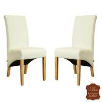 2 chaises en cuir vachette véritable blanc cassé Milan