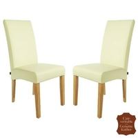 2 chaises en cuir véritable blanc cassé Florence