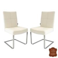 2 chaises en cuir vachette blanc crème et inox Turin