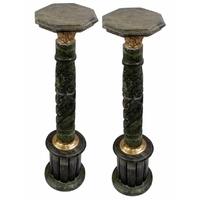 Paire de colonnes en mabre vert 106 cm