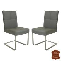 2 chaises en inox et cuir de vachette gris Turin