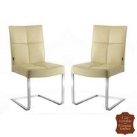 2 chaises en inox et cuir pleine fleur beige mocca Turin