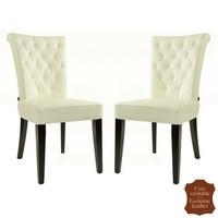 2 chaises en cuir de vachette capitonné blanc Capo
