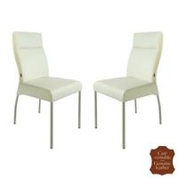 2 chaises en cuir véritable blanc Gatto