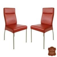 2 chaises en cuir vachette rouge Gatto