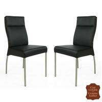 2 chaises en cuir pleine fleur noir Gatto