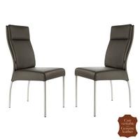 2 chaises en cuir pleine fleur marron Gatto