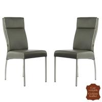 2 chaises en cuir véritable gris Gatto