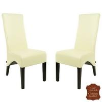 2 chaises en cuir pleine fleur blanc Parme