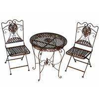 2 chaises et 1 table en fer forgé brun