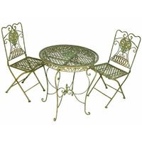 2 chaises et 1 table en fer forgé vert