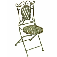 Chaise en fer forgé vert antique