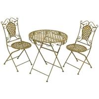 2 chaises et 1 table en fer forgé vert antique