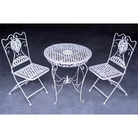 2 chaises et 1 table en fer forgé blanc antique