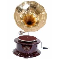 Gramophone fonctionnel en bois et laiton