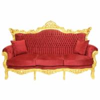 Canapé rococo en hêtre massif doré et velours rouge Hambourg