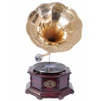 Gramophone octogonal fonctionnel en bois et laiton