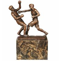 Statue en bronze combat de boxe 24 cm