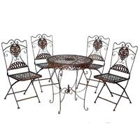 4 chaises et 1 table en fer forgé brun
