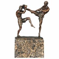 Statue en bronze combat boxeurs thaïlandais 24 cm