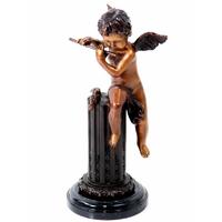 Statue en bronze chérubin musicien 32 cm